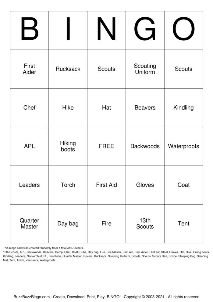 Download Free Scouting Bingo Cards