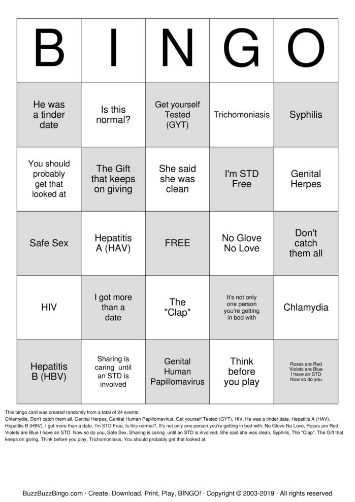 Download What's Up Down There Bingo Cards