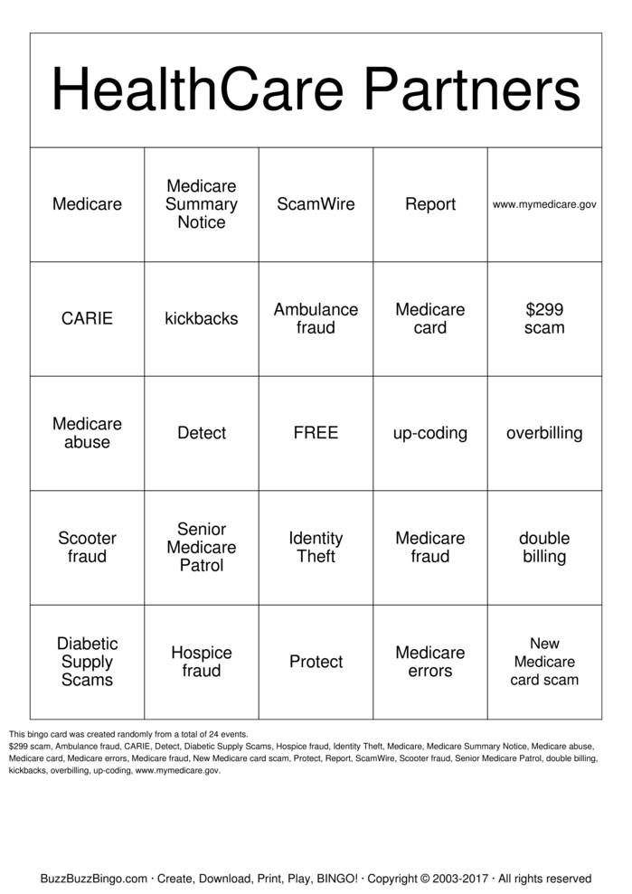 medicare Bingo Cards to Download, Print and Customize!