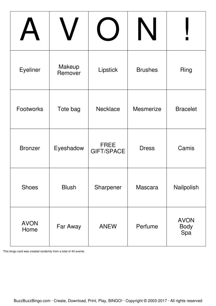 Download AVON! Bingo Cards