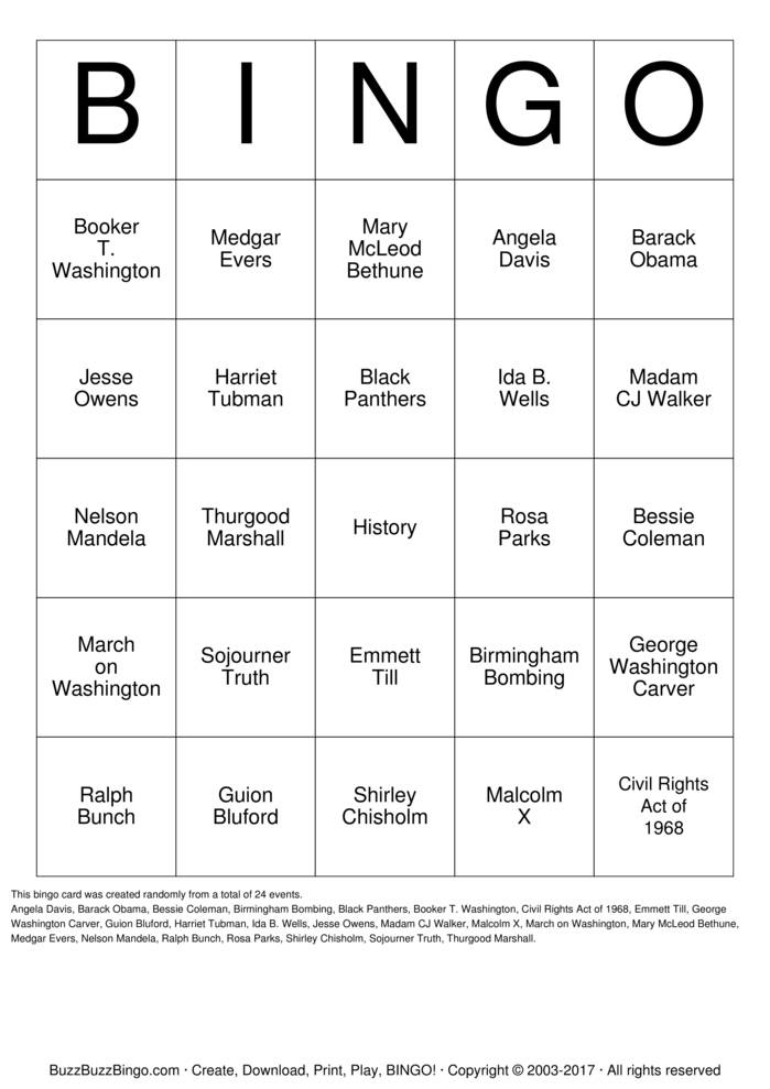 Black History Bingo Card