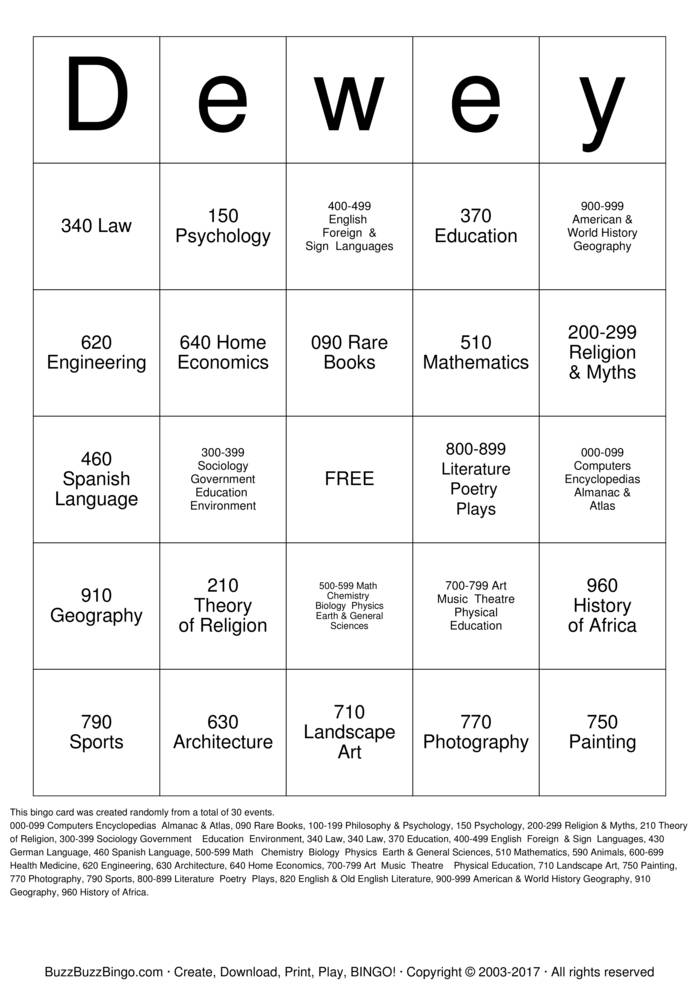 Download Dewey Decimal Bingo Cards