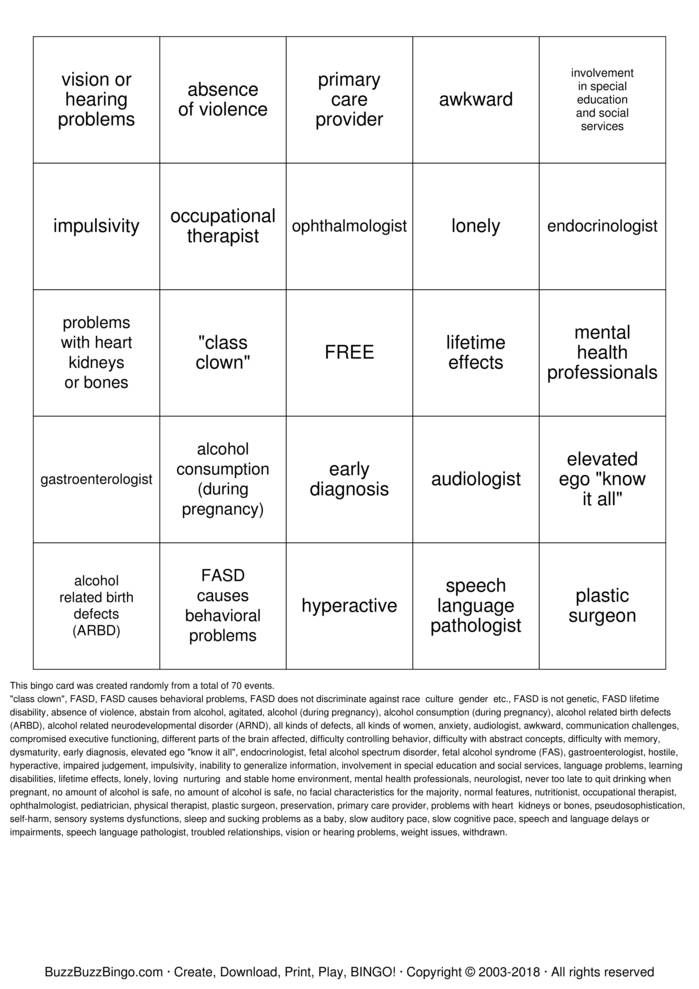 Download FASD Bingo Bingo Cards