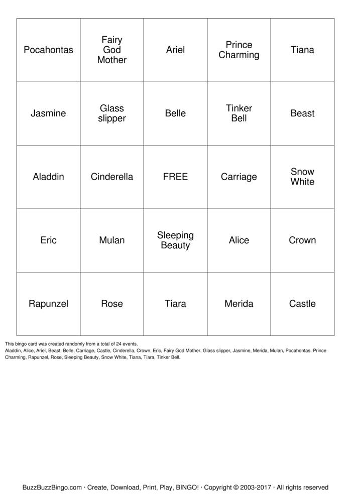 Download Princess Bingo Cards