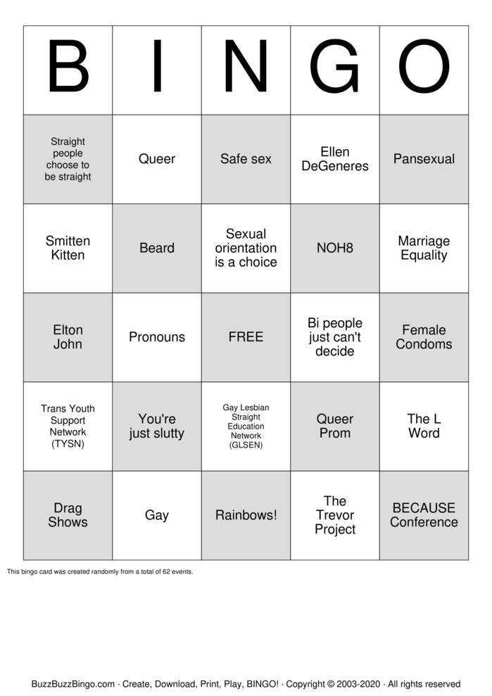 Download Free QUEER BINGO Bingo Cards