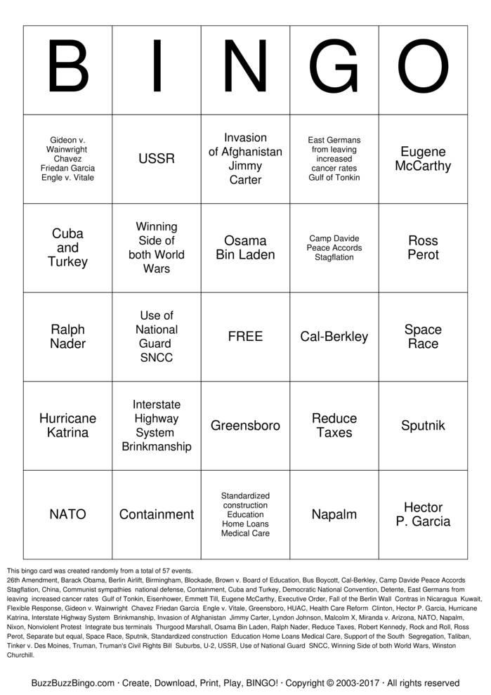 Download Free Spring US History Final Bingo Cards