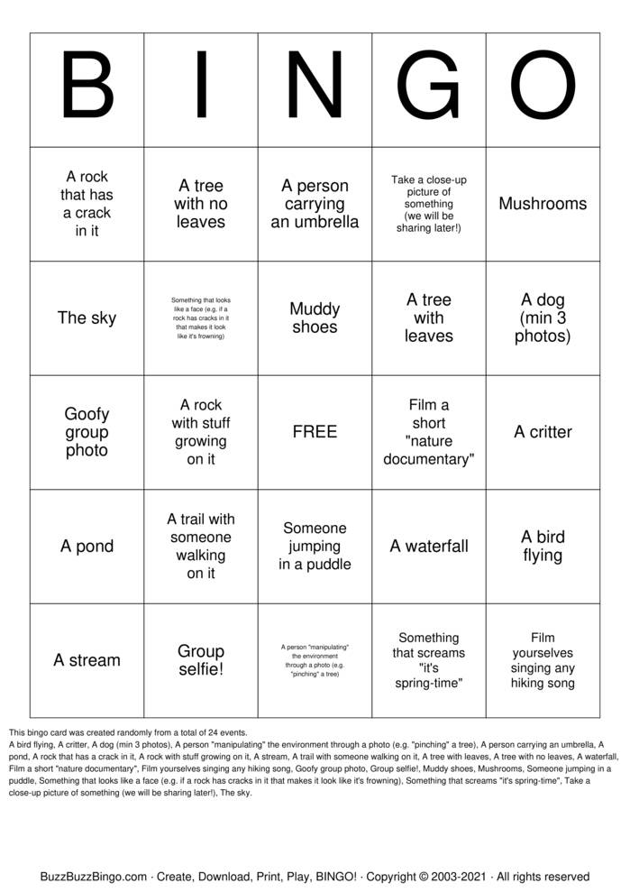 Download Free Take a Picture of... Bingo Cards