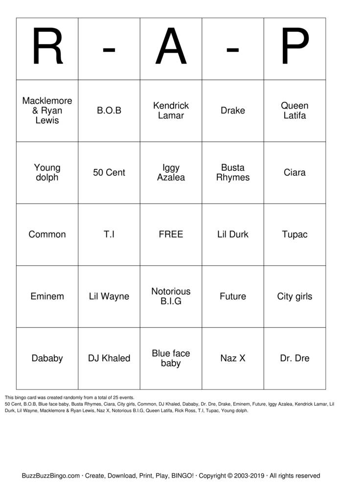 Download Free Trap  Bingo Cards