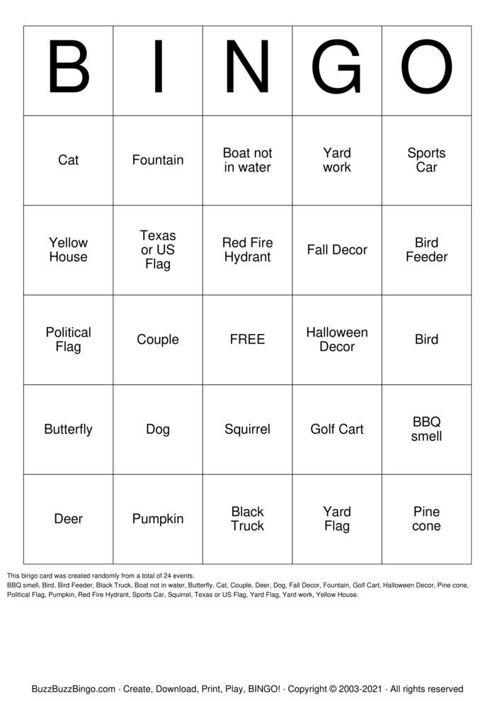 Download Free outdoors Bingo Cards