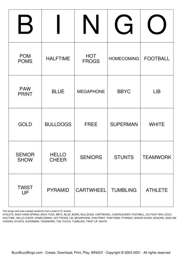 Download Free CHEER Bingo Cards