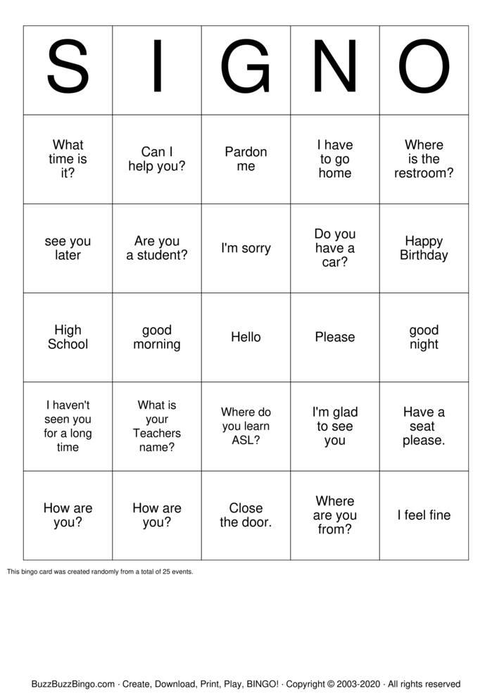 Download Free Deaf Bingo - SIGN-0 Bingo Cards