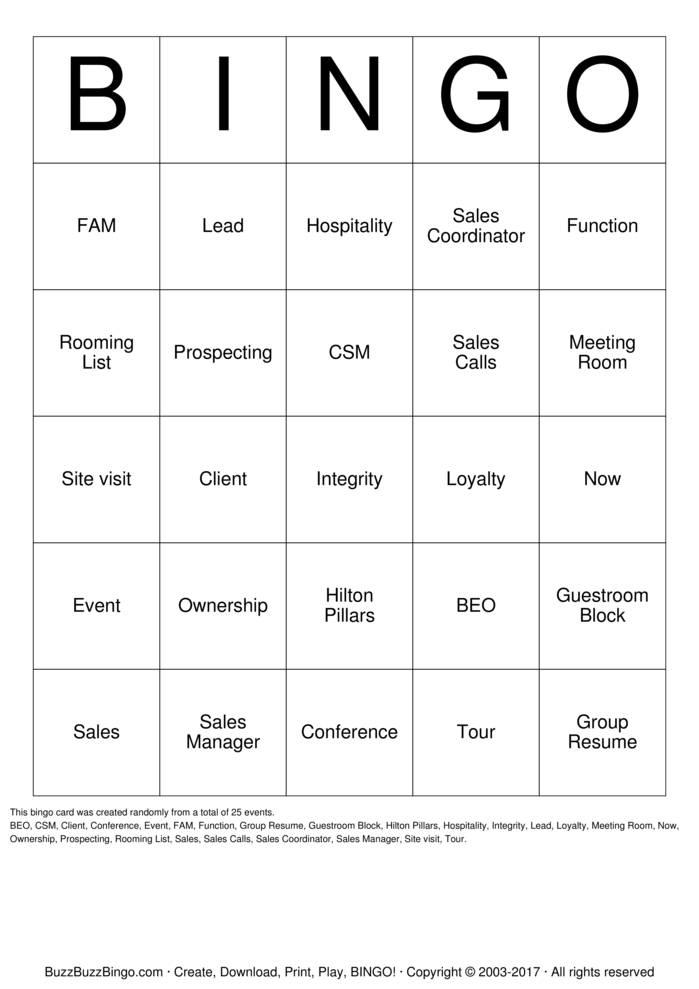 Download Free Hospitality  Bingo Cards
