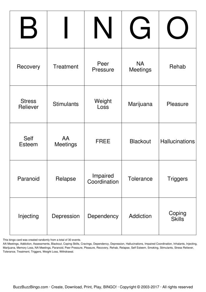 Download Free Substance  Abuse Bingo Cards