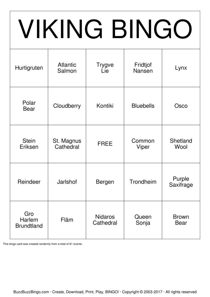 Download VIKING BINGO Bingo Cards