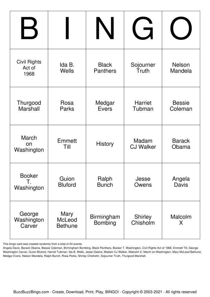 Download Free Black History Bingo Cards