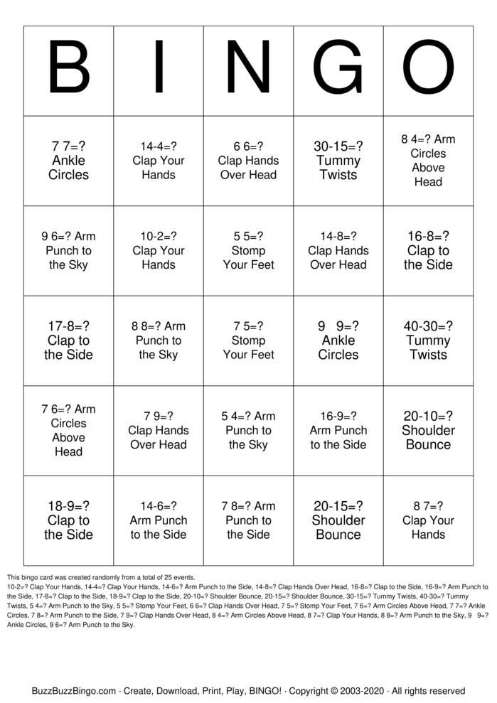 Download Free Body Bingo Bingo Cards