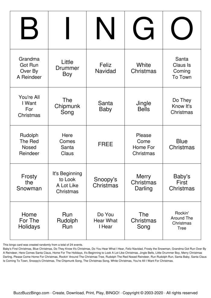 Download Free Christmas Songs Bingo Cards