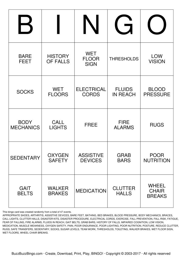 Download Fall Prevention Bingo Cards