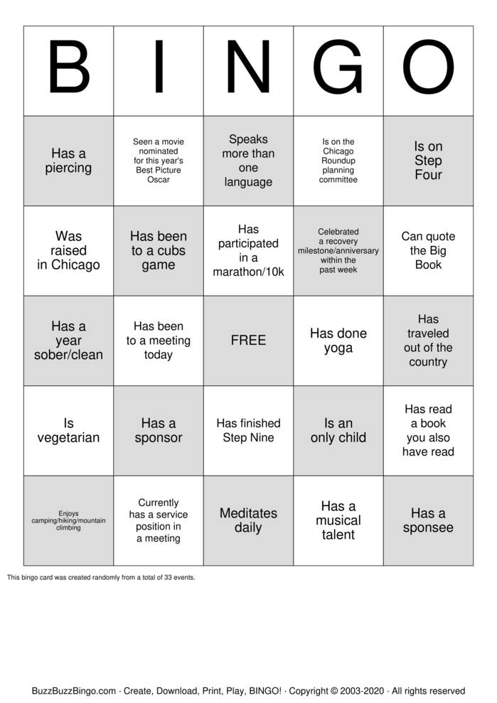 Download Free Narcotics anonymous Bingo Cards