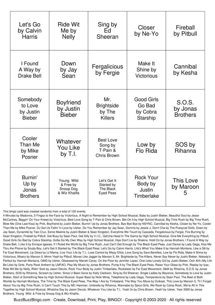 Download Free SINGO Bingo Cards