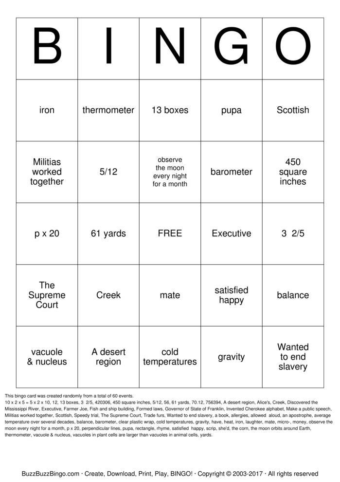 Download Free TCAP BINGO Bingo Cards
