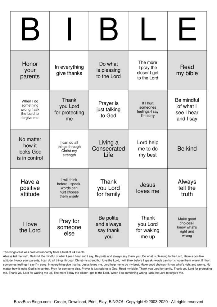Download Free Bible Bingo Cards