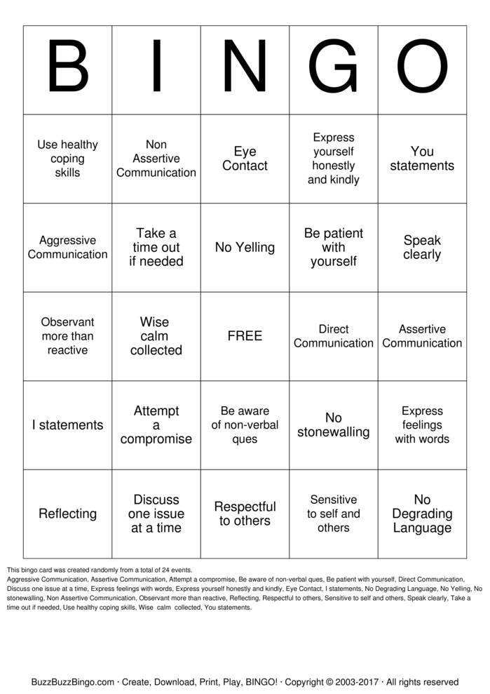 Communication Skills Bingo Cards to Download, Print and