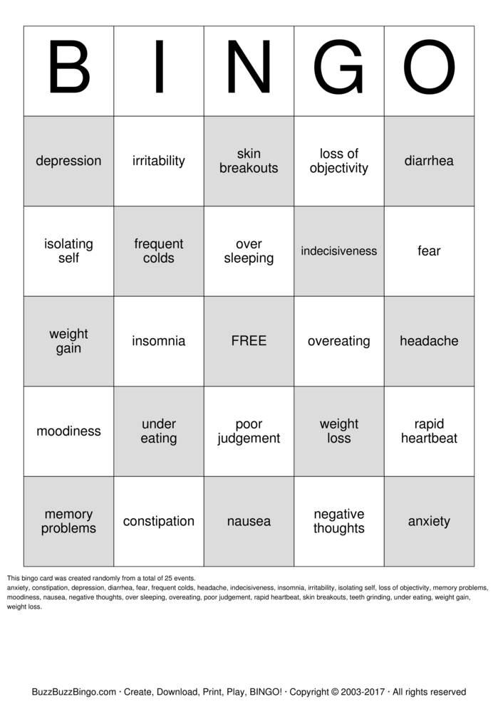 depression bingo cards to download  print and customize