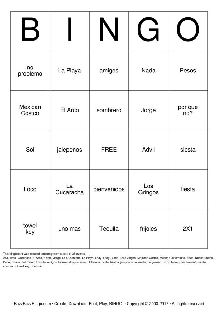 Download Gringo  Bingo Cards