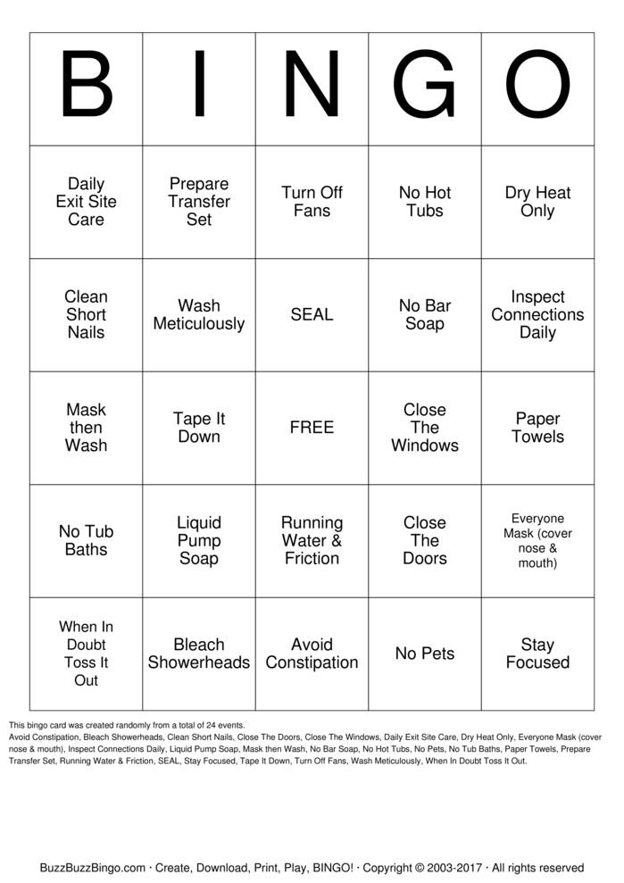 Download Infection Control Bingo Bingo Cards