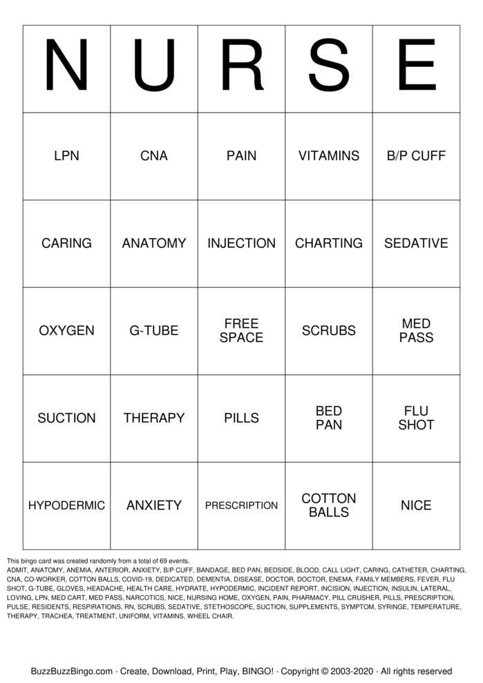 Download Free Nurse  Bingo Cards