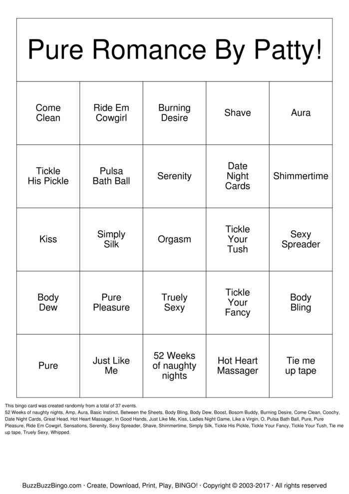 Download Pure Romance By Patty Bingo Cards