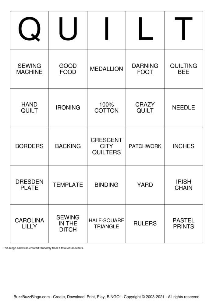 Download Free Quilting Bingo Bingo Cards