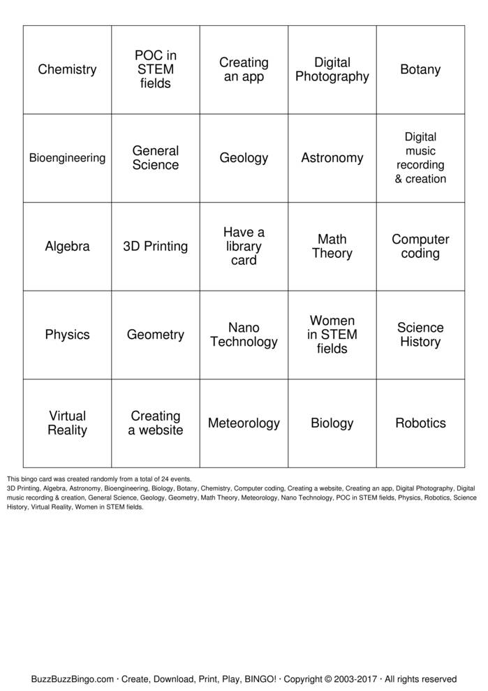Download Free STEM  Bingo Cards