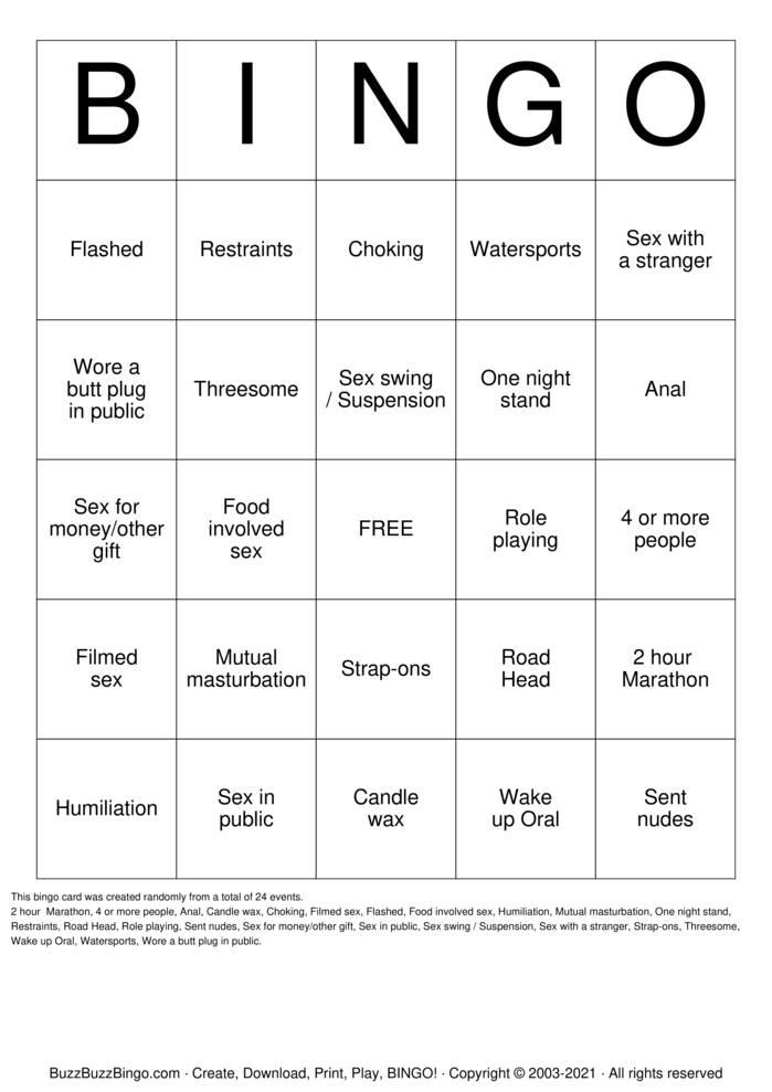 Download Free Sex Act Bingo Bingo Cards