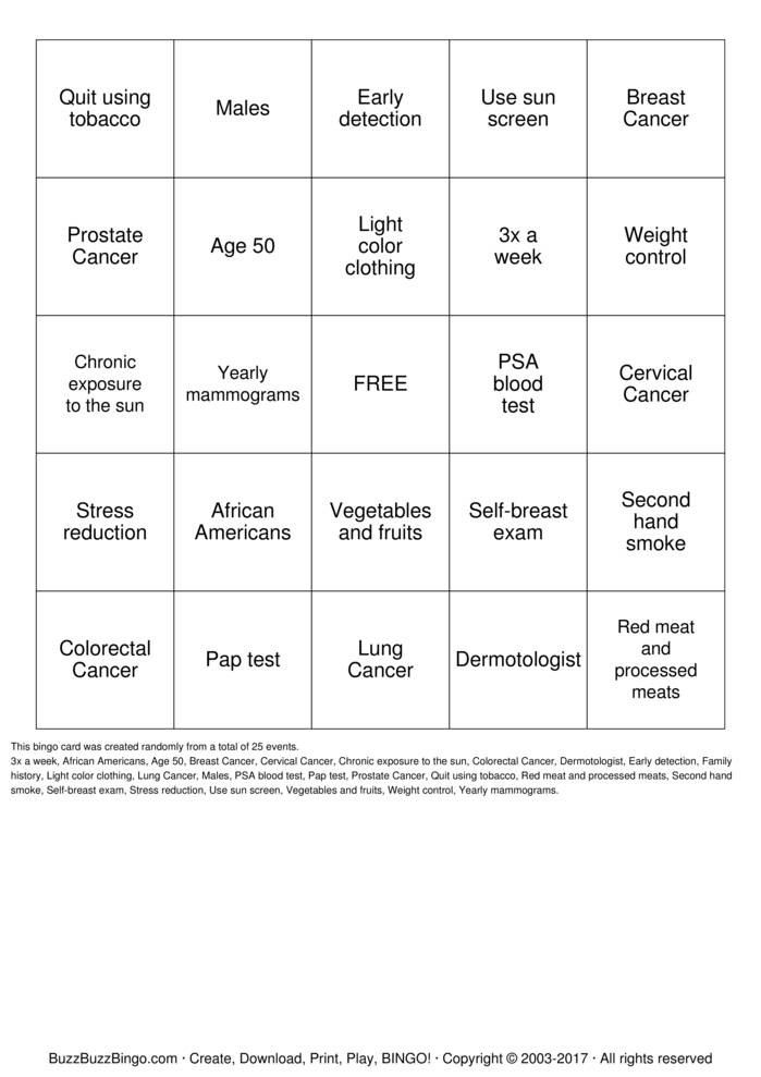 breast cancer Bingo Card