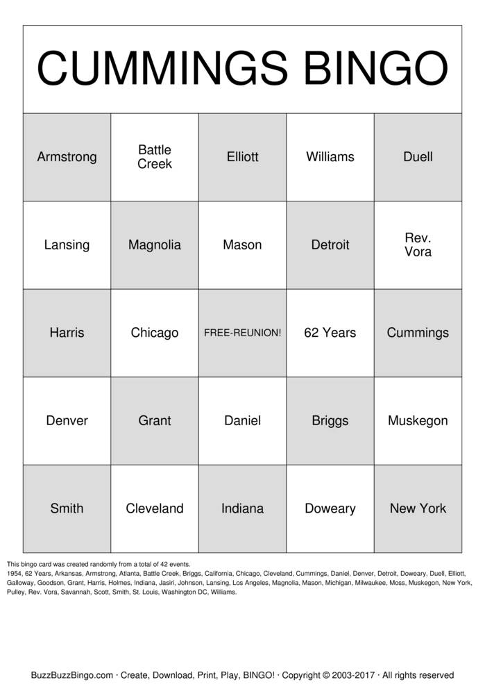 Download Free 2016 CUMMINGS REUNION  Bingo Cards