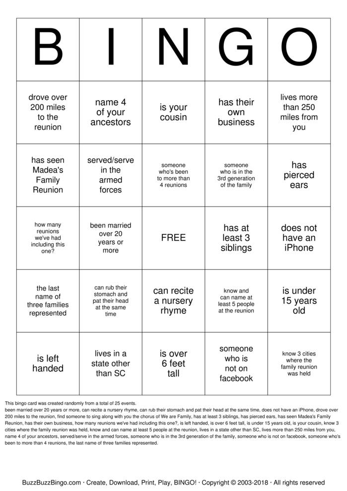 Download Free Haskell Rivers Family Reunion  Bingo Cards