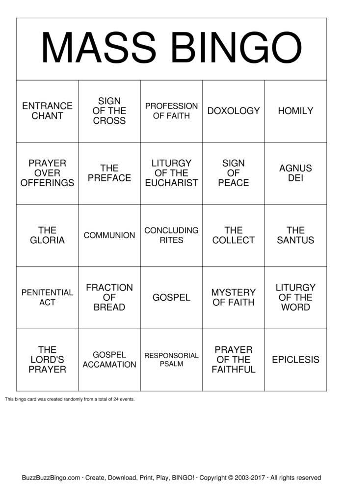 Download Free MASS Bingo Cards