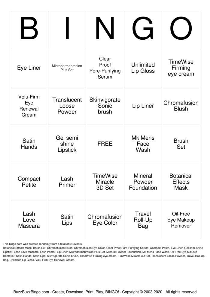 Download Free Mary Kay Bingo Cards