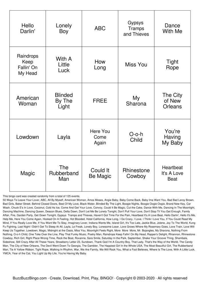 Download Free SINGO Bingo Cards