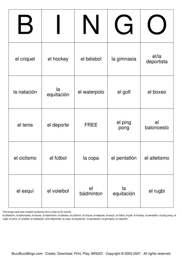 Download Free Spanish Sports Bingo Cards