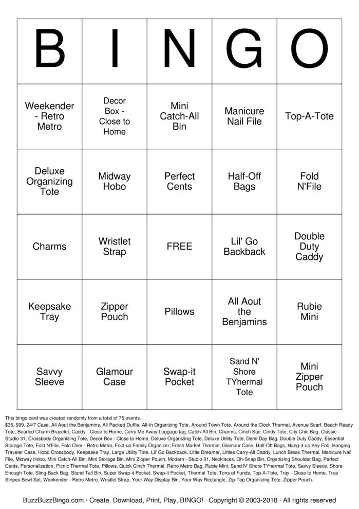 Download Thirty-One Bingo Cards