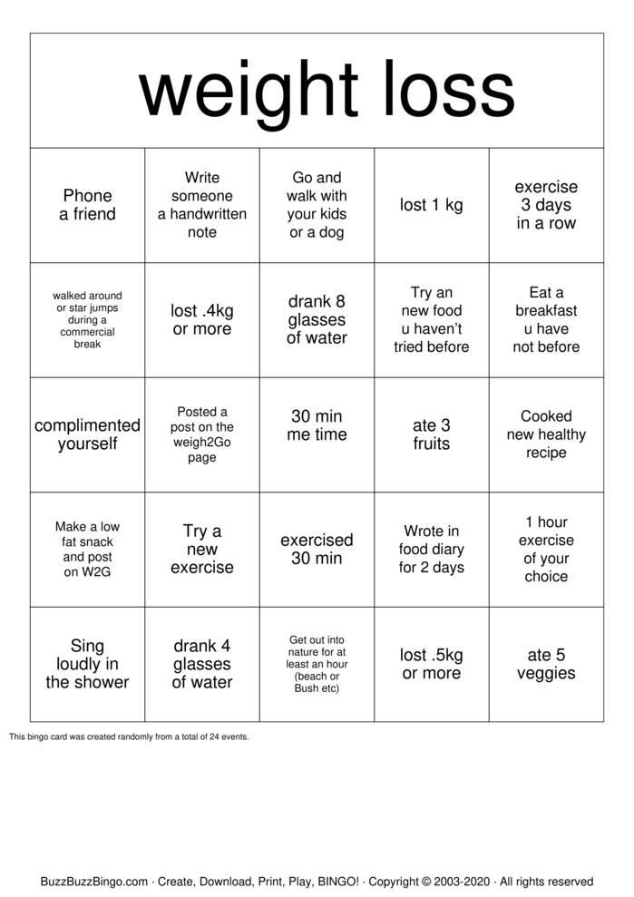 Download Free Weightloss Bingo Bingo Cards