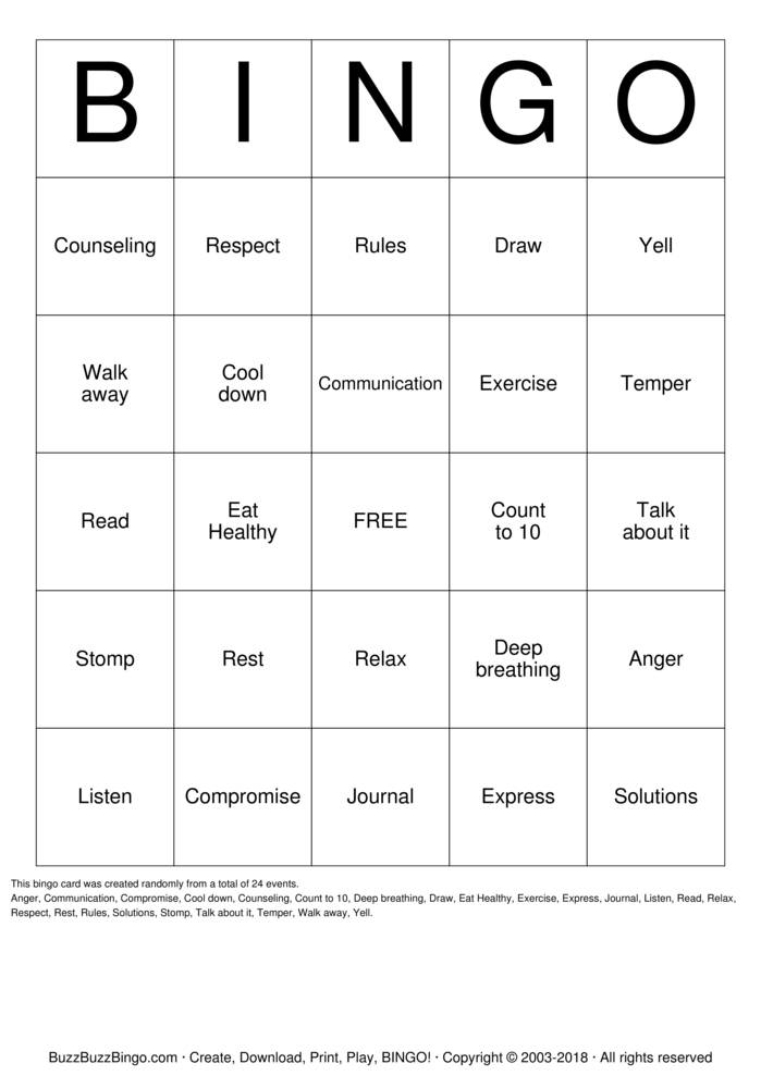 Download ANGER Bingo Cards