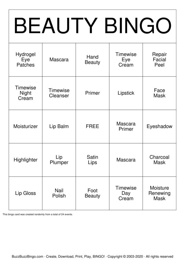 Download Free BEAUTY BINGO Bingo Cards