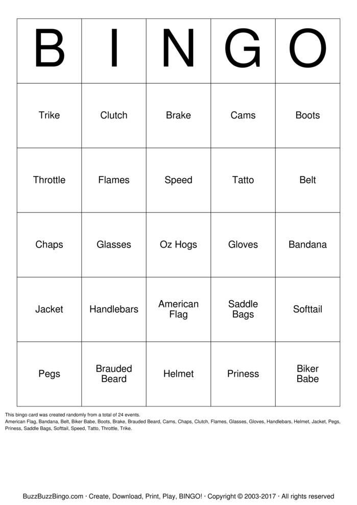 Download Free Biker  Bingo Cards