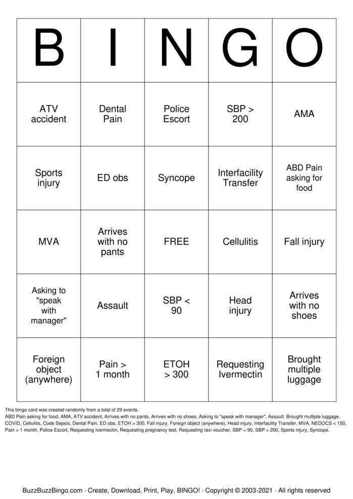 Download Free ED  Bingo Cards