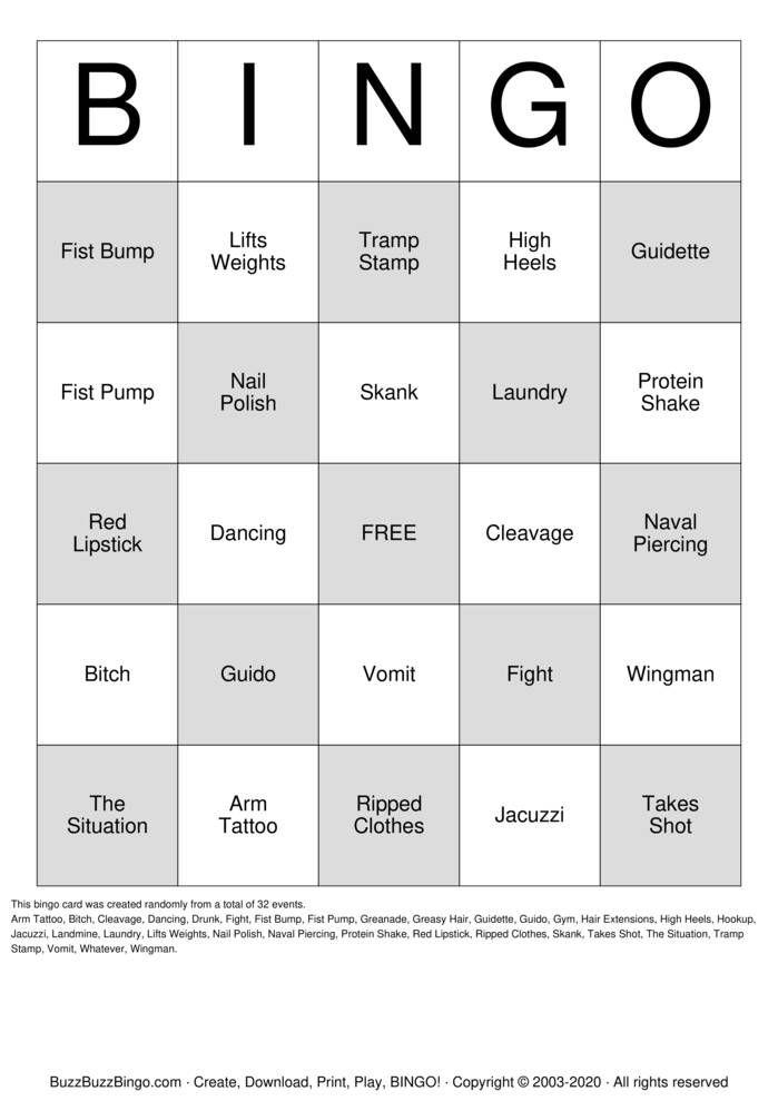Download Free Jersey Shore Bingo Cards