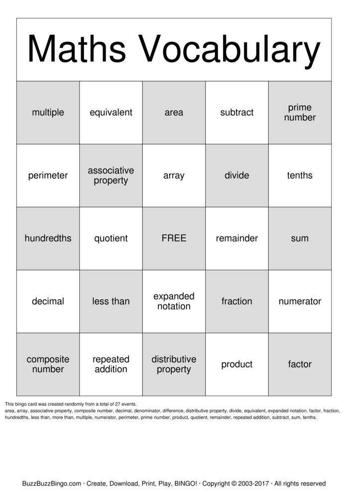 photograph about Math Bingo Printable identify Math Bingo Playing cards toward Obtain, Print and Customise!
